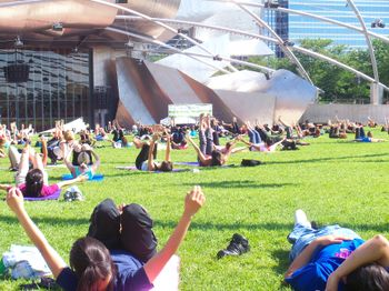Morning Yoga at Millenium Park in Chicago
