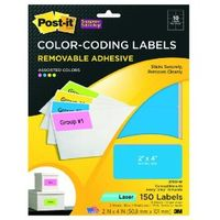 Post-it removable color coded labels