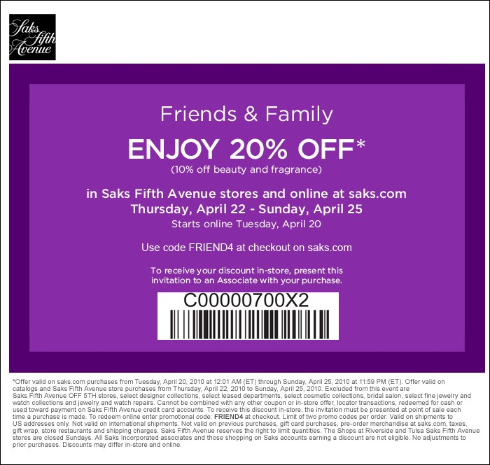 Saks Fifth Avenue Friends & Family