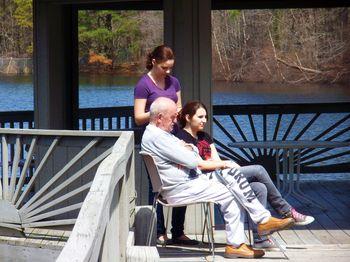 Papa and the girls at the lake