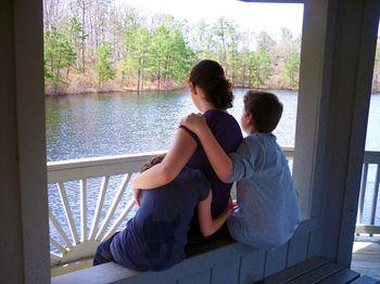 Holly hugs at the lake