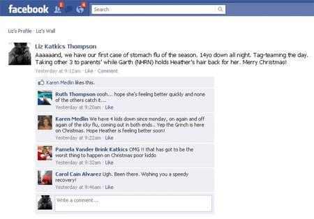 Facebook Update on Puke