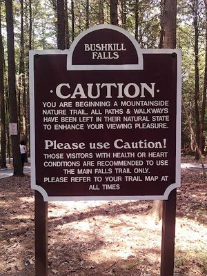 Bushkill Falls Caution
