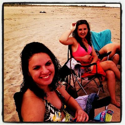 Holly and Heather sunning on the beach