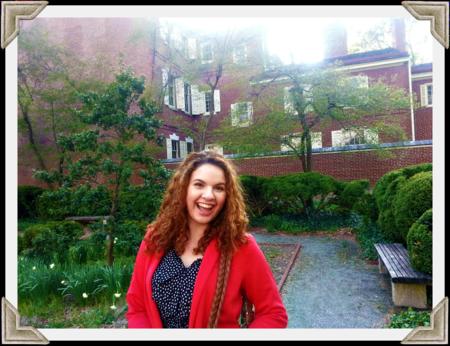 Holly in her secret pretend victorian garden.