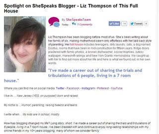 Featured Blogger on SheSpeaks